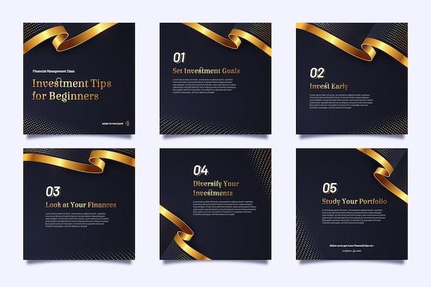 Collection de publications instagram pour l'investissement
