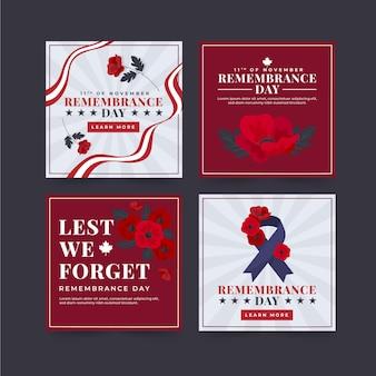 Collection de publications instagram pour le jour du souvenir à plat