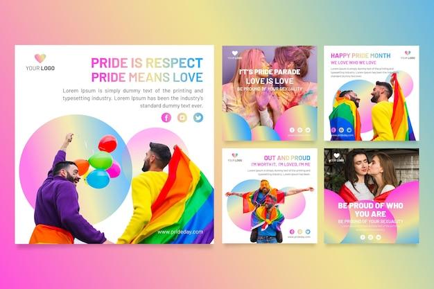 Collection de publications instagram pour le jour de la fierté dégradé