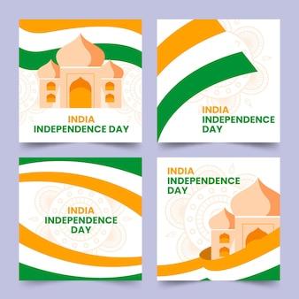 Collection de publications instagram pour le jour de l'indépendance de l'inde