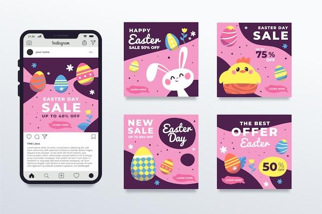 Collection de publications instagram pour le jour de pâques