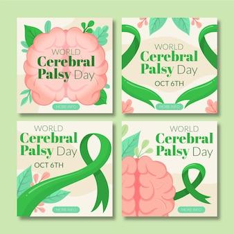 Collection de publications instagram pour le jour de la paralysie cérébrale du monde plat dessiné à la main