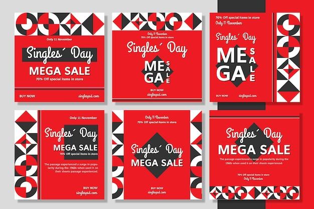 Collection de publications instagram pour la journée des célibataires