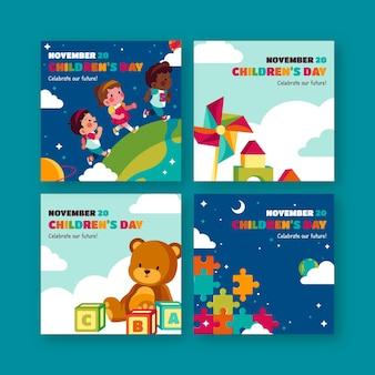 Collection de publications instagram pour la journée des enfants du monde plat dessinés à la main