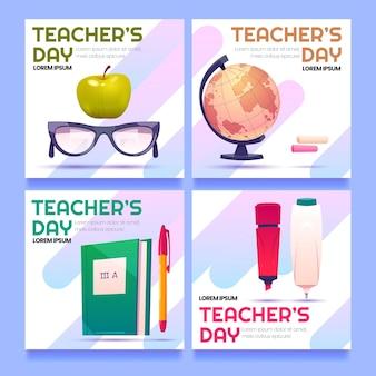 Collection de publications instagram pour la journée des enseignants avec des fournitures scolaires
