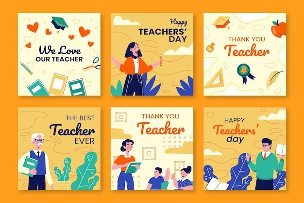 Collection de publications instagram pour la journée des enseignants à plat dessinés à la main