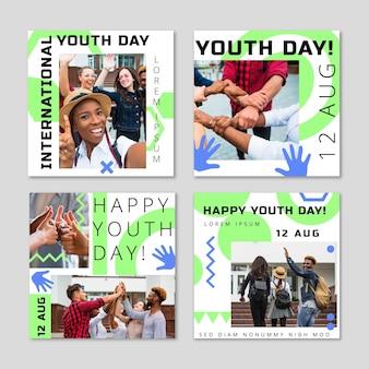 Collection de publications instagram pour la journée internationale de la jeunesse avec photo