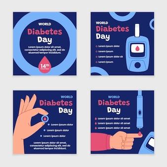 Collection de publications instagram pour la journée mondiale du diabète dessinée à la main