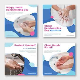 Collection de publications instagram pour la journée mondiale du lavage des mains à plat dessinée à la main