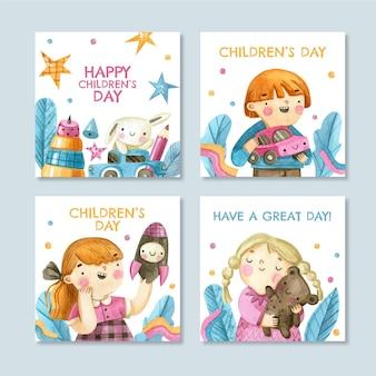 Collection de publications instagram pour la journée mondiale des enfants à l'aquarelle