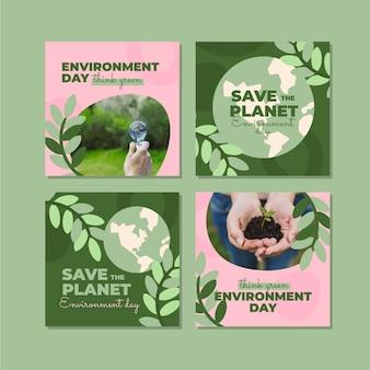 Collection de publications instagram pour la journée mondiale de l'environnement