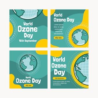 Collection de publications instagram pour la journée mondiale de l'ozone dessinée à la main