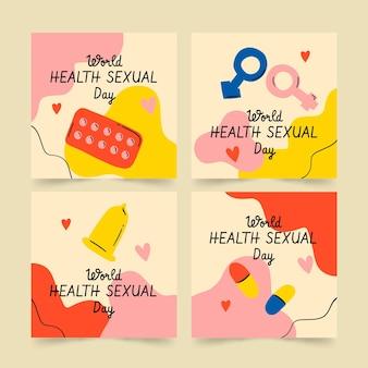 Collection de publications instagram pour la journée mondiale de la santé sexuelle dessinée à la main