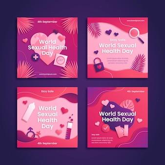 Collection de publications instagram pour la journée mondiale de la santé sexuelle de style papier
