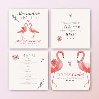 Collection de publications instagram pour un mariage avec des flamants roses