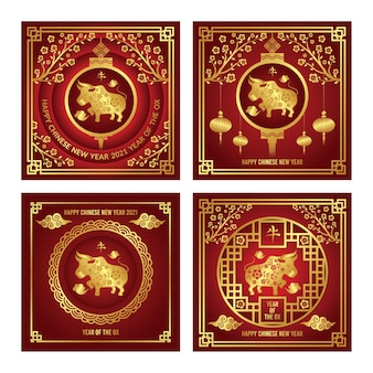 Collection de publications instagram pour le nouvel an chinois