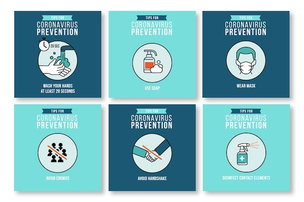 Collection de publications instagram pour la prévention des coronavirus