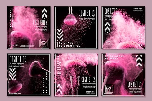 Collection de publications instagram pour les produits cosmétiques avec pinceau de maquillage