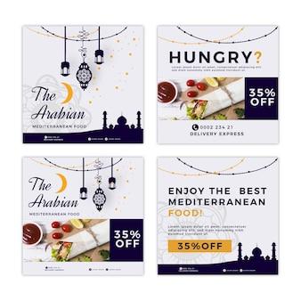 Collection de publications instagram pour un restaurant de cuisine méditerranéenne