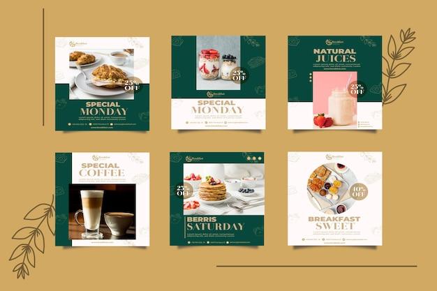 Collection de publications instagram pour le restaurant du petit-déjeuner