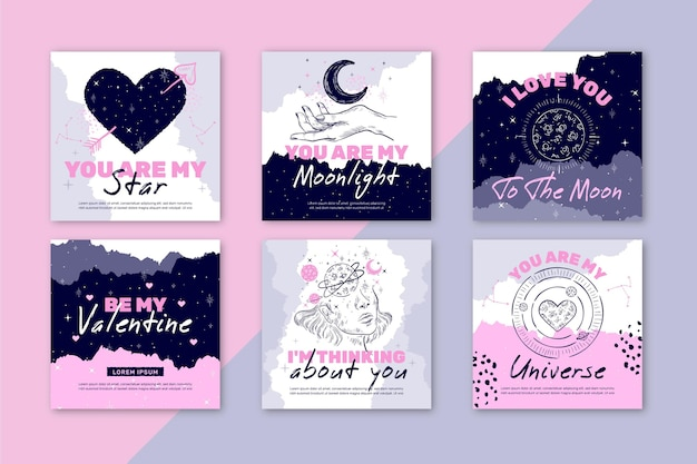 Collection de publications instagram pour la saint-valentin