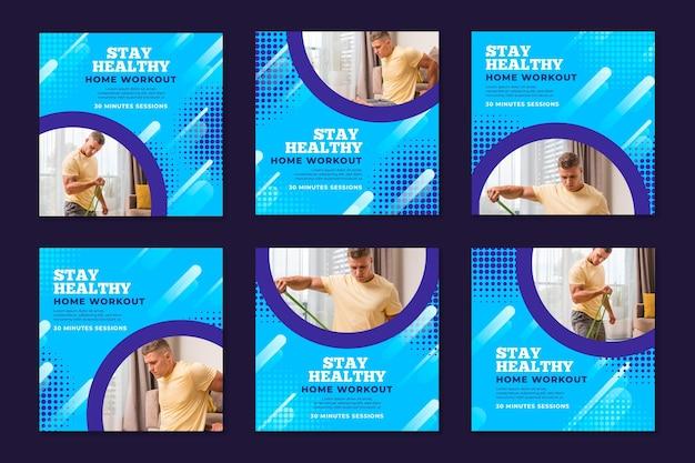 Collection de publications instagram pour le sport à la maison avec un athlète masculin