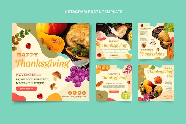Collection de publications instagram pour thanksgiving à l'aquarelle