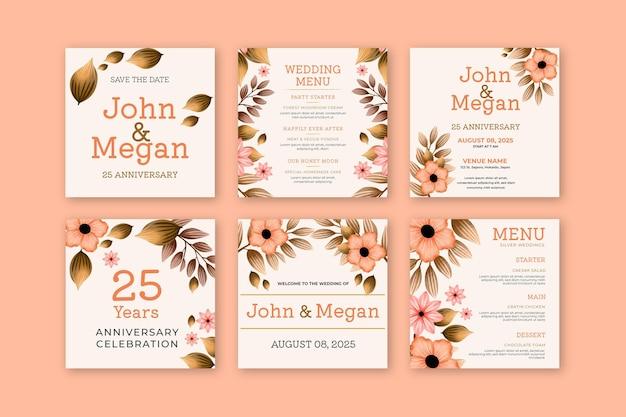 Collection de publications instagram pour le vingt-cinquième anniversaire de mariage