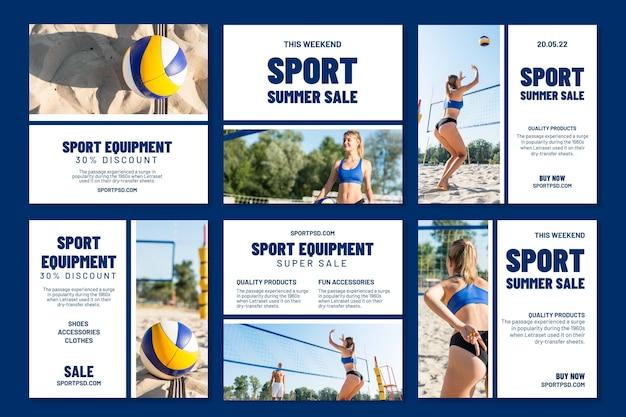 Collection de publications instagram pour le volleyball de plage