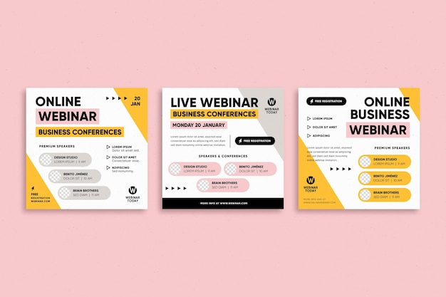 Collection de publications sur instagram pour le webinaire