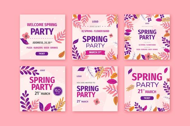 Collection de publications instagram printemps plat
