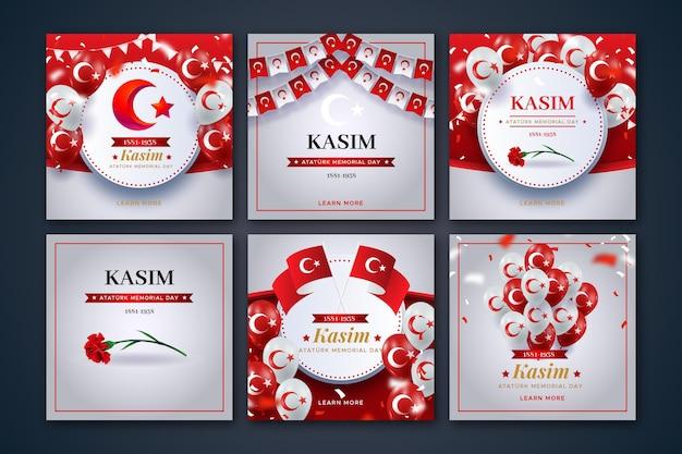 Collection de publications instagram réalistes du jour commémoratif d'ataturk