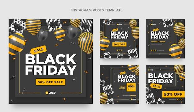 Collection de publications instagram réalistes du vendredi noir avec des ballons noirs et or