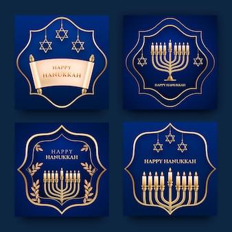 Collection de publications instagram réalistes sur hanoucca