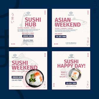Collection de publications instagram de restaurant japonais