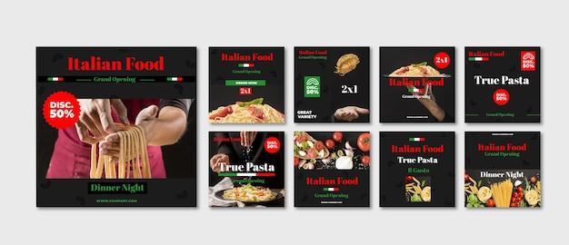 Collection de publications instagram de restauration rapide