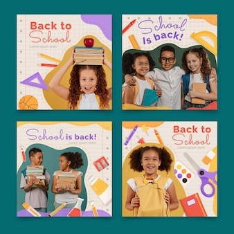 Collection de publications instagram de retour à l'école avec photo