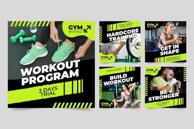 Collection de publications instagram sur la santé et le fitness à plat