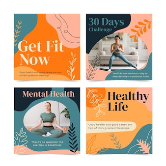 Collection de publications instagram sur la santé et la forme physique dessinée à la main