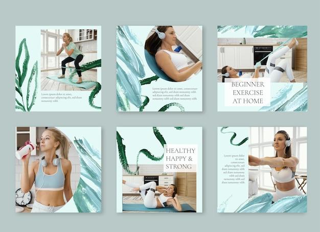 Collection de publications instagram sur la santé et la forme physique peintes à la main avec photo
