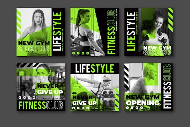 Collection de publications instagram sur la santé et la forme physique avec photo