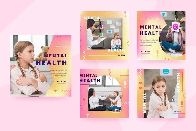 Collection de publications instagram sur la santé mentale en dégradé avec photo