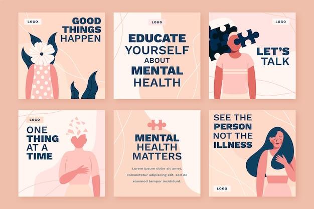 Collection de publications instagram sur la santé mentale