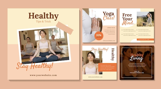 Collection de publications instagram de santé et de remise en forme à plat avec photo
