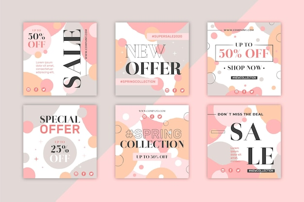 Collection de publications instagram de soldes de printemps
