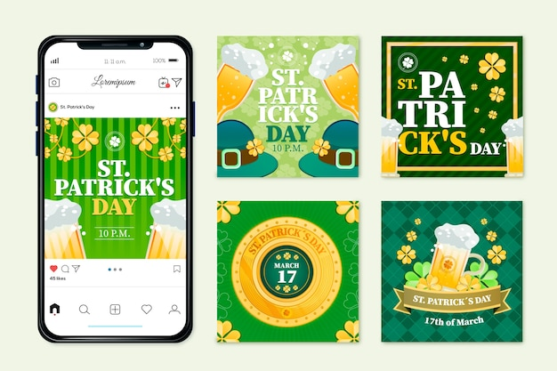 Collection de publications instagram avec st. concept de patricks day