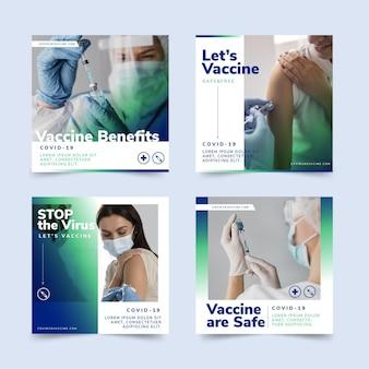 Collection de publications instagram de vaccin plat avec photos