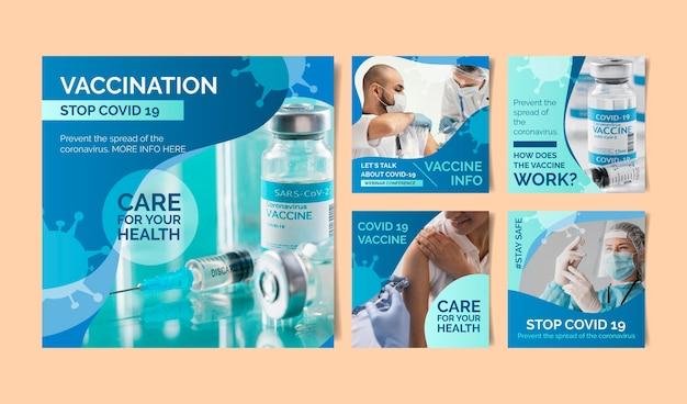 Collection de publications instagram de vaccins dégradés avec photos