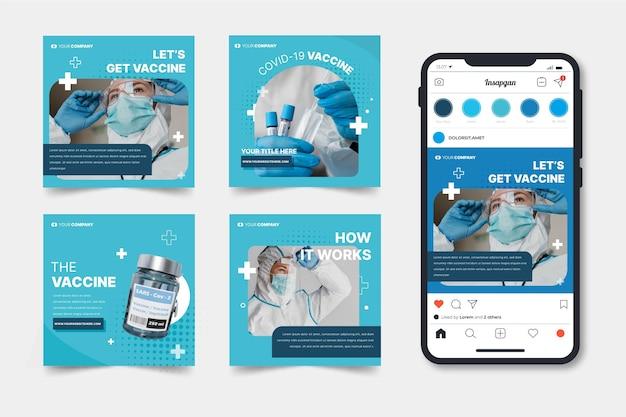 Collection de publications instagram sur les vaccins avec photos