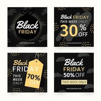 Collection de publications instagram vendredi noir dessiné à la main